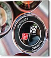1963 Chevrolet Corvette Split Window Steering Wheel Emblem -170c Canvas Print