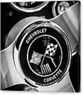 1963 Chevrolet Corvette Split Window Steering Wheel Emblem -309bw Canvas Print