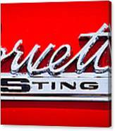 1963 Chevy Corvette Stingray Emblem Canvas Print