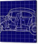 1963 Volkswagon Beetle Blueprint Canvas Print