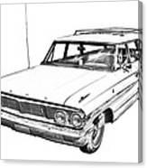 1964 Ford Galaxy Country Stationwagon Illustration Canvas Print