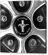 1965 Ford Mustang Gt Rim Black And White Canvas Print