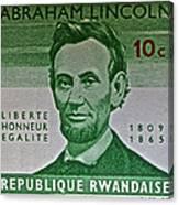 1965 Rwanda Abraham Lincoln Stamp Canvas Print