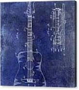 1966 Fender Acoustic Guitar Patent Drawing Blue Canvas Print