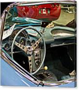 1967 Blue Corvette-interior And Wheel Canvas Print