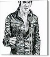 1968 Black Leather Suit Canvas Print