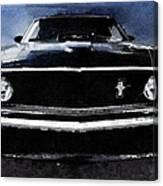 1968 Ford Mustang Shelby Front Watercolor Canvas Print
