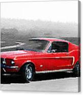 1968 Ford Mustang Watercolor Canvas Print