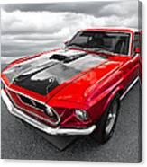 1969 Red 428 Mach 1 Cobra Jet Mustang Canvas Print