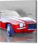 1970 Chevy Camaro Watercolor Canvas Print