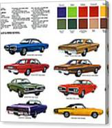 1970 Dodge Coronet Models And Colors Canvas Print