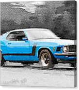 1970 Ford Mustang Boss Blue Watercolor Canvas Print