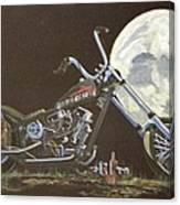 1970 Harley Chopper - Harley Moon Canvas Print