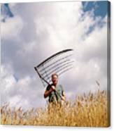 1970s Man Farmer Field Hand Wearing Canvas Print
