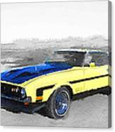 1971 Ford Mustang Boss Watercolor Canvas Print