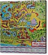 1971 Original Map Of The Magic Kingdom Canvas Print
