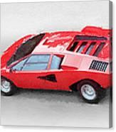 1974 Lamborghini Countach Watercolor Canvas Print
