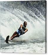 1980s Man Waterskiing Making Fan Canvas Print