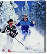 1990s Couple Skiing Vail Colorado Usa Canvas Print