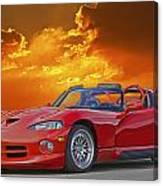 1995 Dodge Viper At Sunset Canvas Print