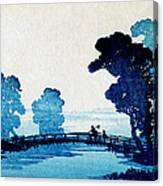 19th C. Japanese Father And Son Crossing Bridge Canvas Print