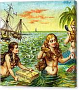 19th C. Mermaids At Ship Wreck Canvas Print