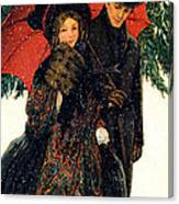 19th C. Young Couple In Winter Canvas Print