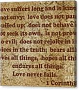 1st Corinthians 13 Verses 4-7 Canvas Print