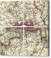18th Century Map Of London Canvas Print