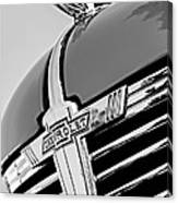 1938 Chevrolet Coupe Hood Ornament -0216bw Canvas Print