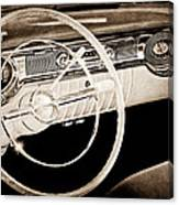 1956 Oldsmobile Starfire 98 Steering Wheel And Dashboard Canvas Print