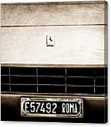 1972 Ferrari 365 Gtb -4a Grille Emblem Canvas Print