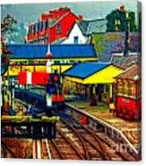 A Digitally Converted Painting Of Llangollen Railway Station North Wales Uk Canvas Print