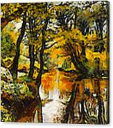 A River Landscape In Springtime Canvas Print