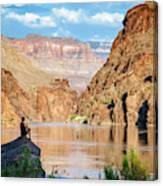 A Woman Sits By The Colorado River Canvas Print