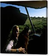 A Woman Sits In Her Safari Jeep Canvas Print