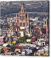 Aerial View Of San Miguel De Allende Canvas Print