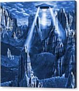 Alien Planet In Blue Canvas Print