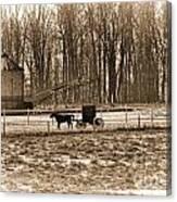 Amish Buggy And Corn Crib Canvas Print