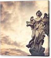 Angel In Ponte St Angelo Canvas Print