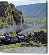 At Point Of Rocks-bound For Yellowstone Canvas Print
