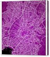 Athens Street Map - Athens Greece Road Map Art On Color Canvas Print