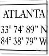 Atlanta Coordinates Canvas Print