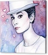 Audrey Hepburn Fashion Watercolor Canvas Print