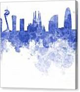 Barcelona Skyline In Watercolour On White Background Canvas Print