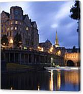 Bath City Spa Viewed Over The River Avon At Night Canvas Print