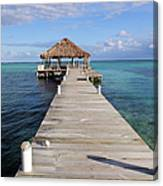 Beach Deck With Palapa Floating In The Water Canvas Print