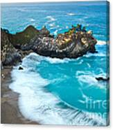 Beautiful Mcway Falls Along The Big Sur Coast. Canvas Print