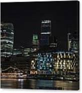 Beautiful Night City Skyline Landscape Image Of City Of London Canvas Print