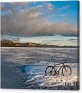 Bike On Frozen Lake Laberge Yukon Canada Canvas Print